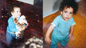 Two photos of Aquil as a child with long, curly hair.